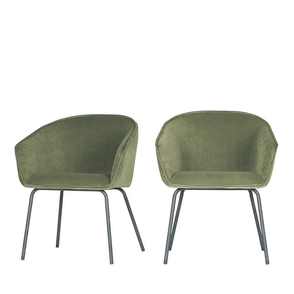 2 fauteuils de table en velours vert kaki