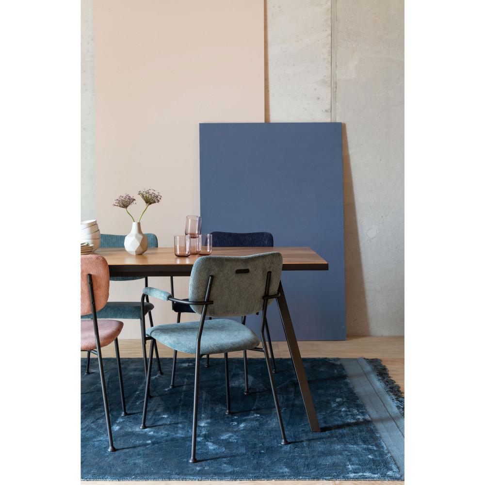 2 fauteuils de table en velours côtelé gris