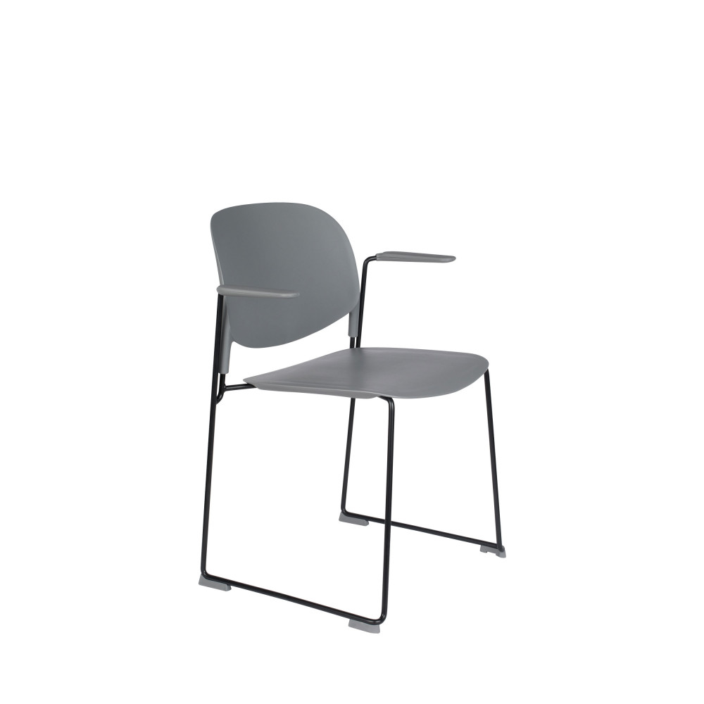 4 fauteuils de table en plastique gris