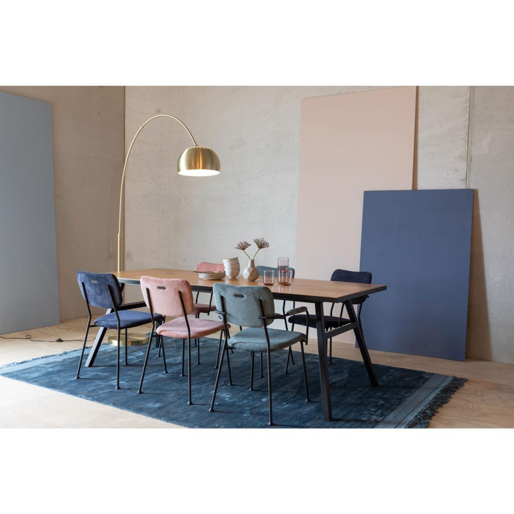 2 fauteuils de table en velours côtelé bleu marine