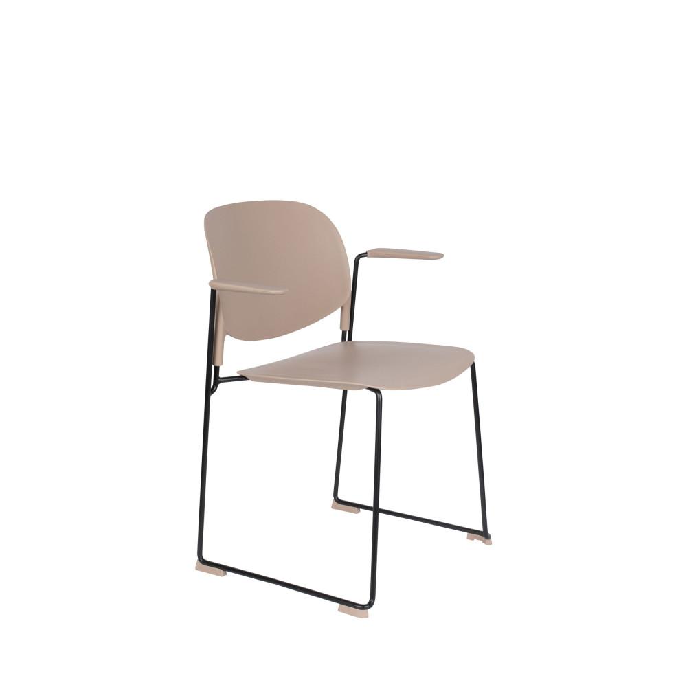 4 fauteuils de table en plastique beige