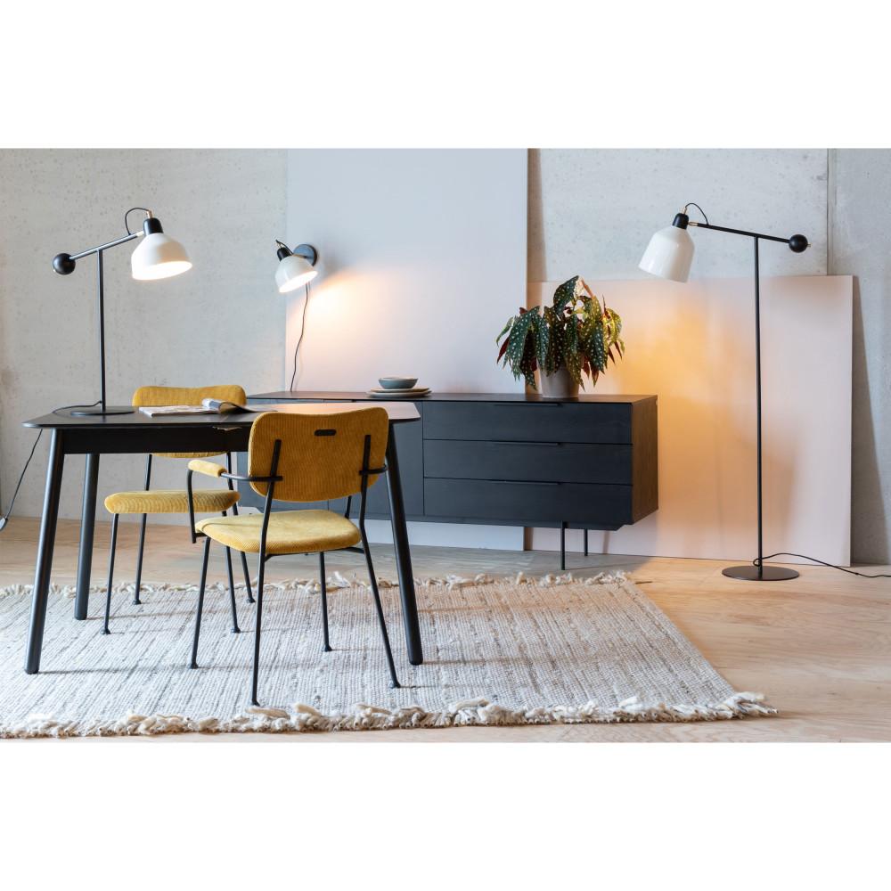 2 fauteuils de table en velours côtelé ocre