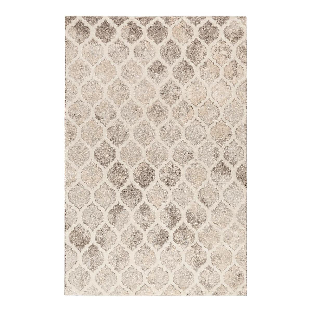 Tapis géométrique design en polypropylène gris 80x150