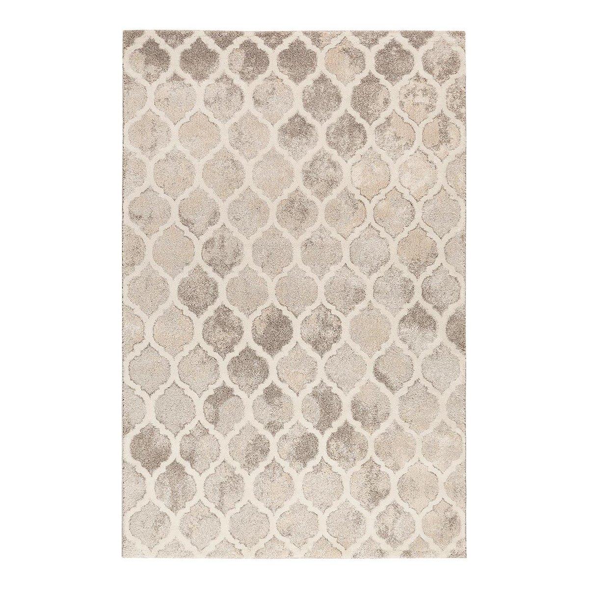 Tapis géométrique design en polypropylène gris 200x290