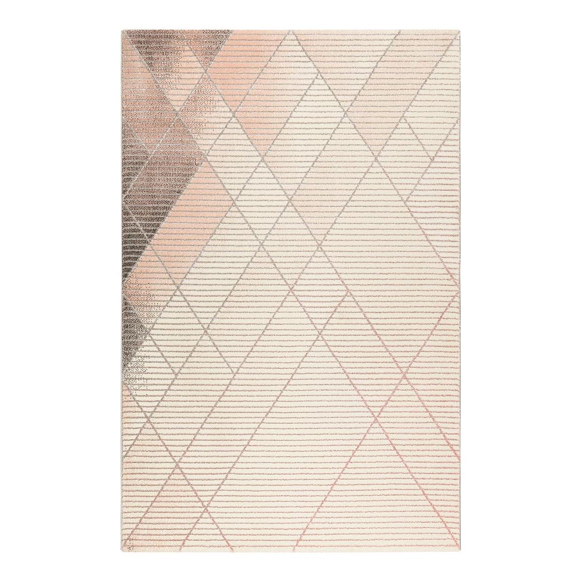 Tapis géométrique design en polyester rose 200x290