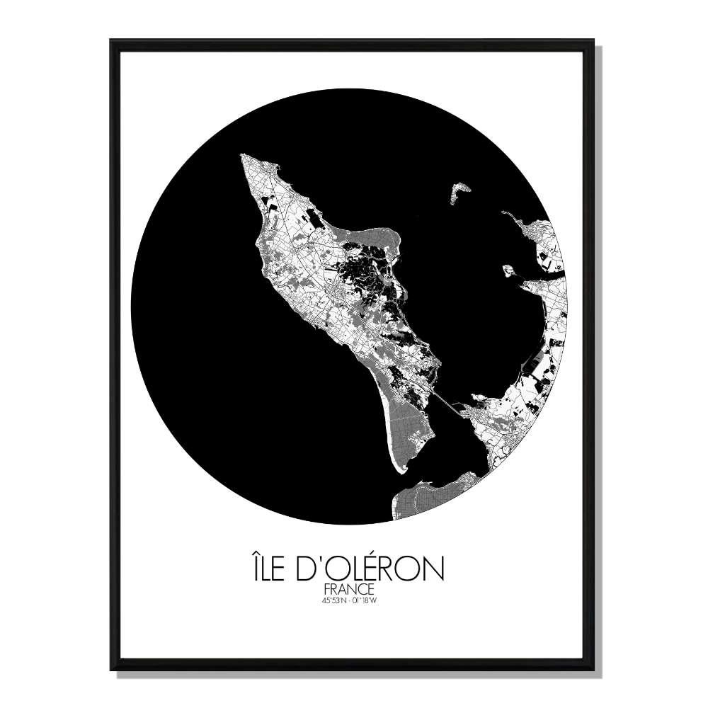 OLERON - Carte City Map Rond 40x50cm