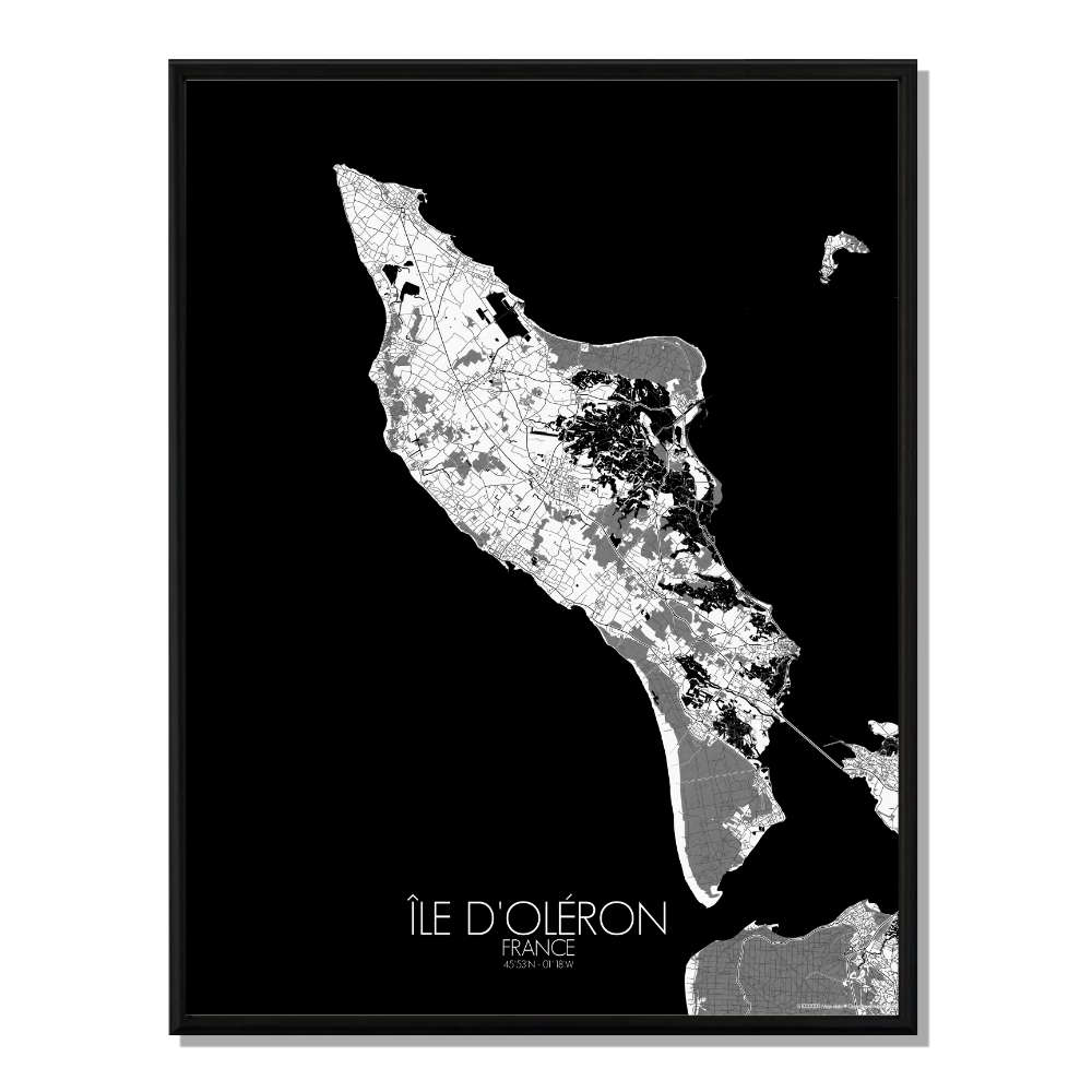OLERON - Carte City Map N&B 40x50cm