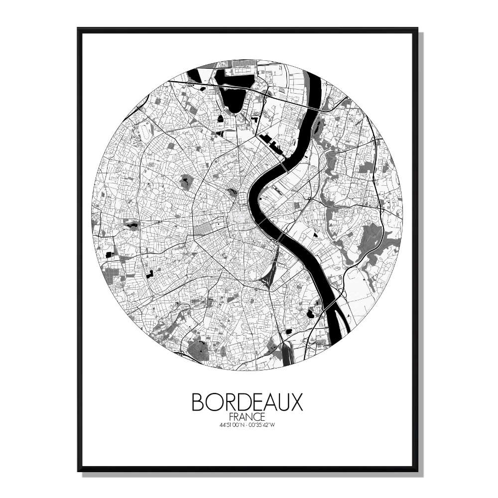 BORDEAUX - Carte City Map Rond 40x50cm