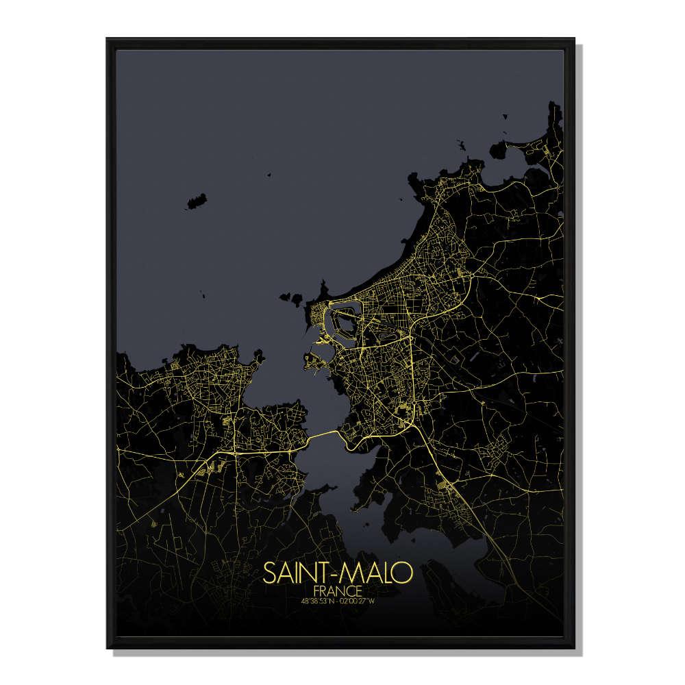ST MALO - Carte City Map Nuit