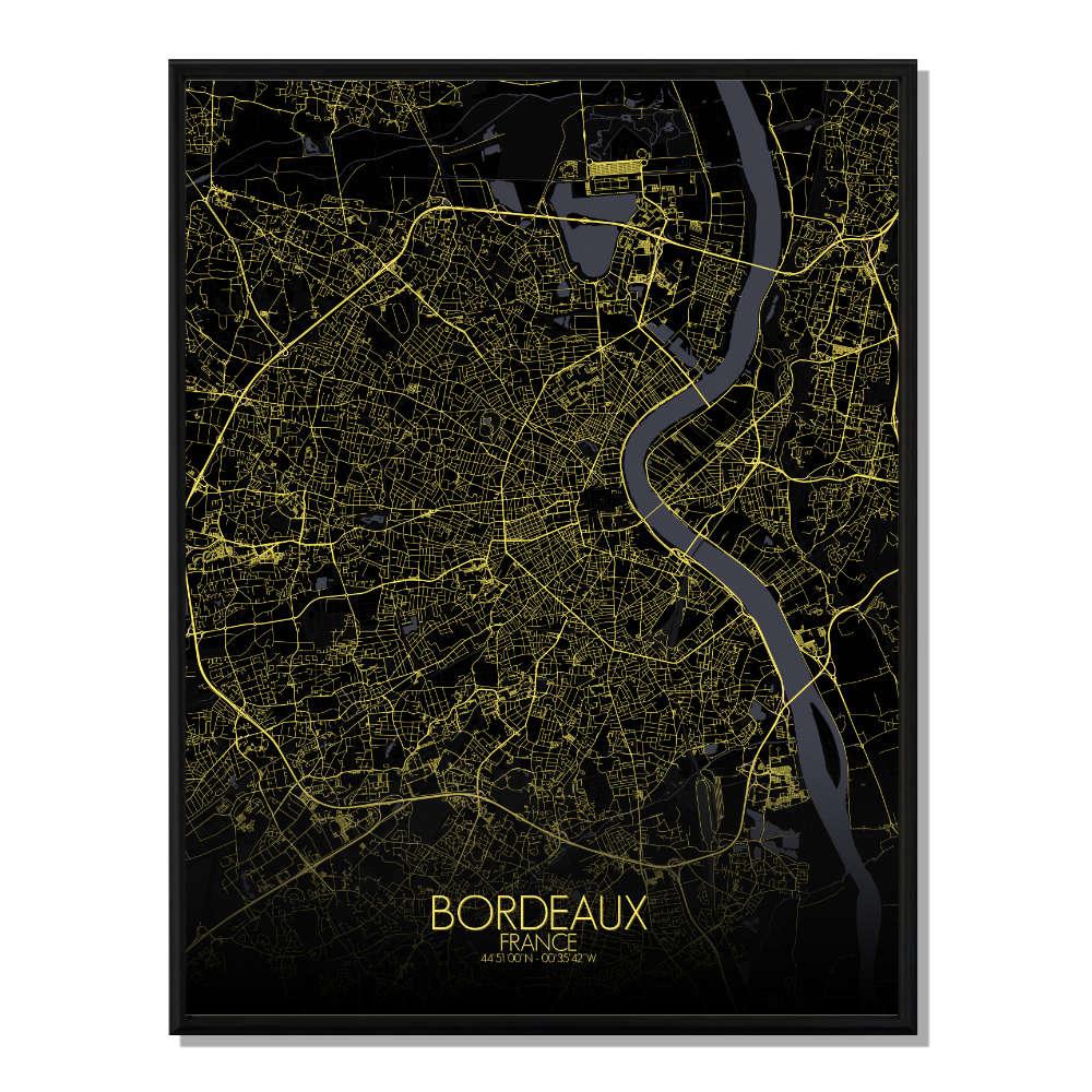 BORDEAUX - Carte City Map Nuit 40x50cm