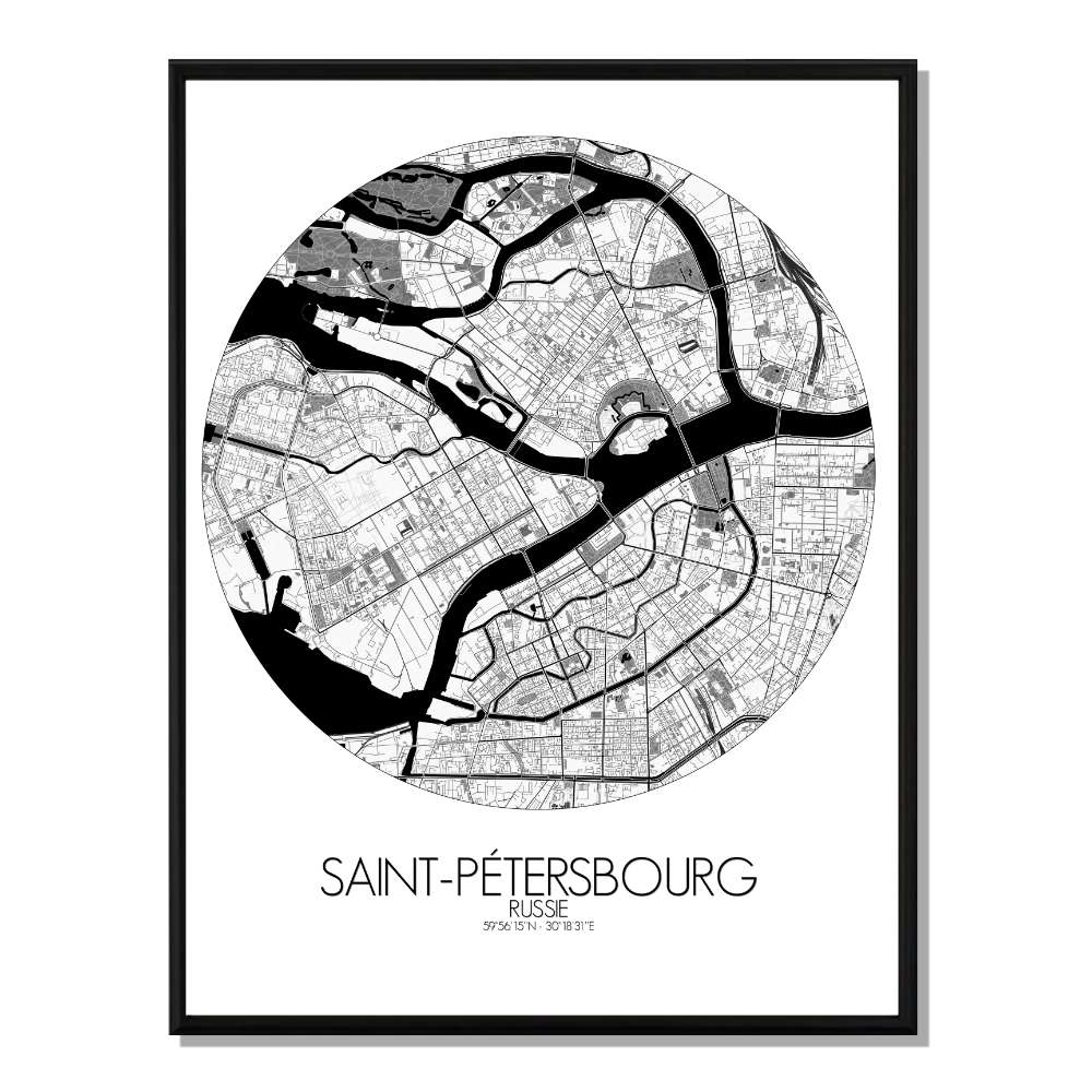 ST PETERSBOURG - Carte City Map Rond