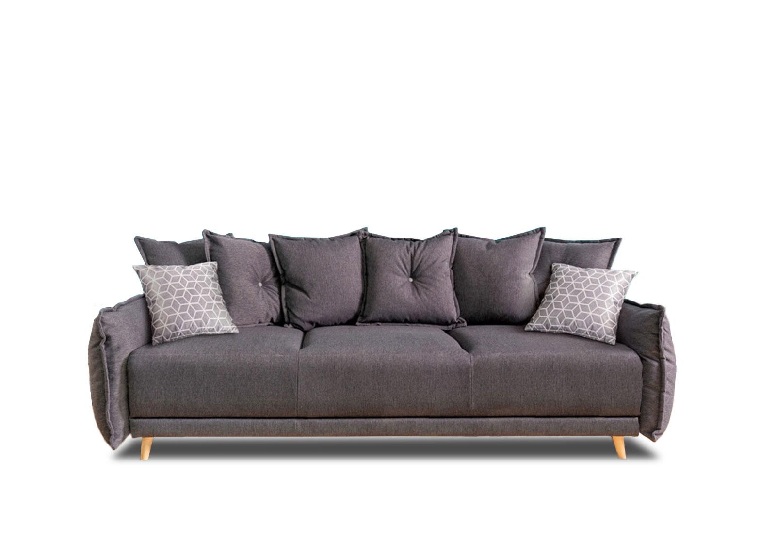 Canapé droit 3 places Gris Tissu Contemporain Confort