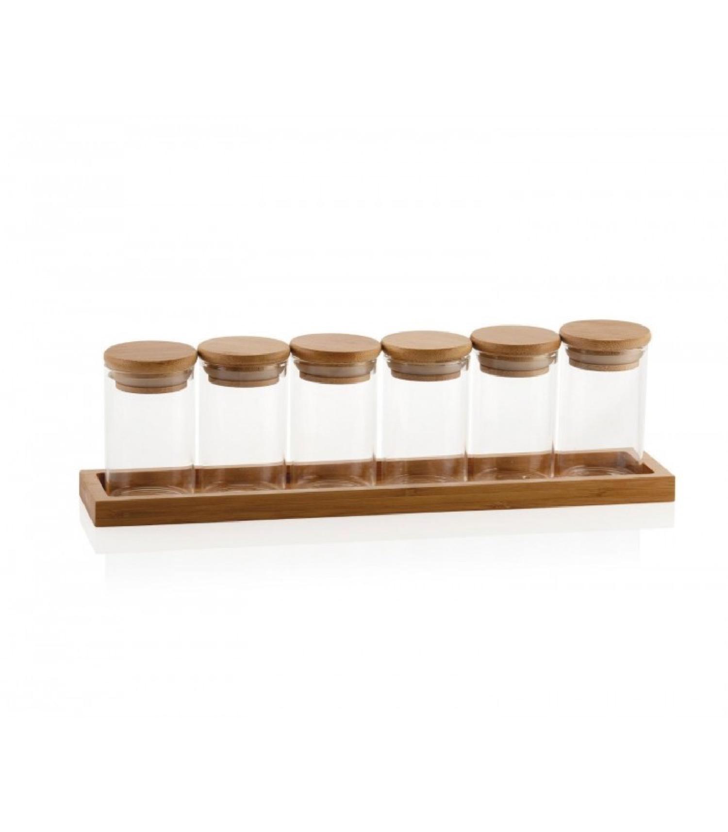 Set de 6 pots à épices en verre et plateau en bambou