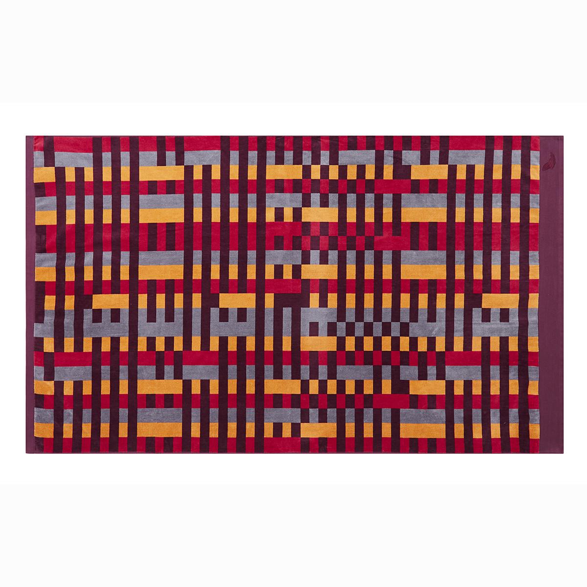 Drap de plage coton 100x180 cm violet imprimé