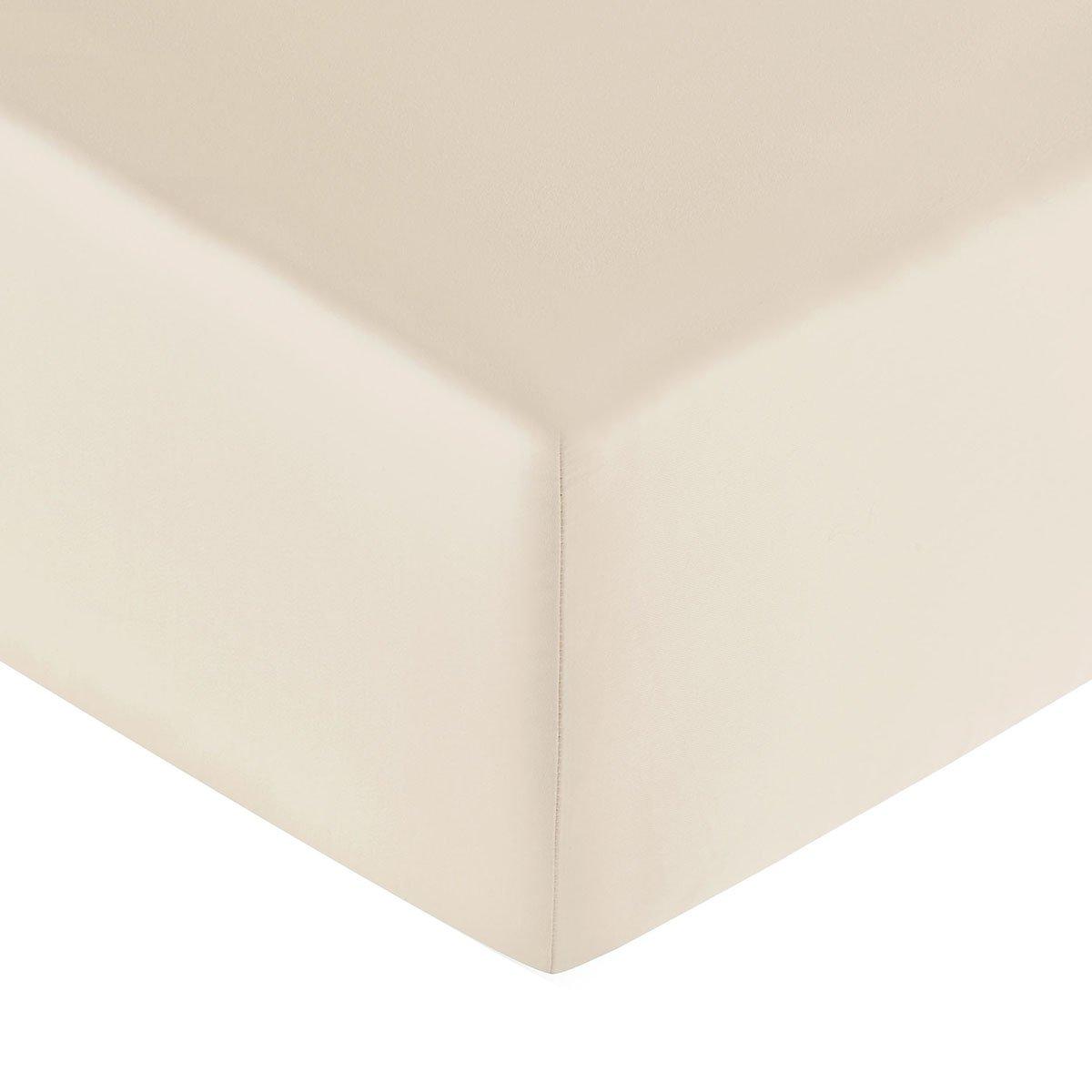Drap housse coton 180x200 cm poudre