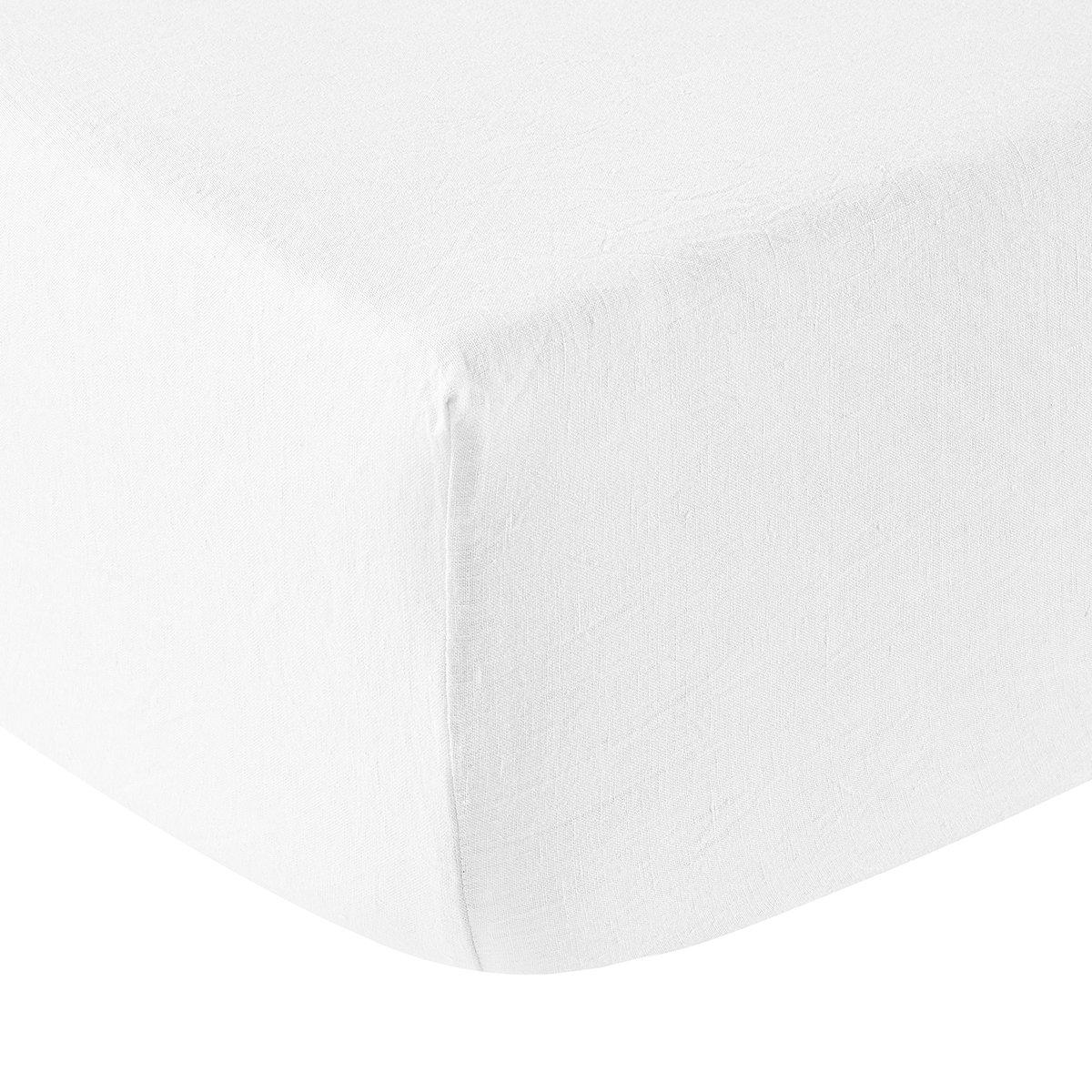 Drap housse lin 160x200 cm blanc