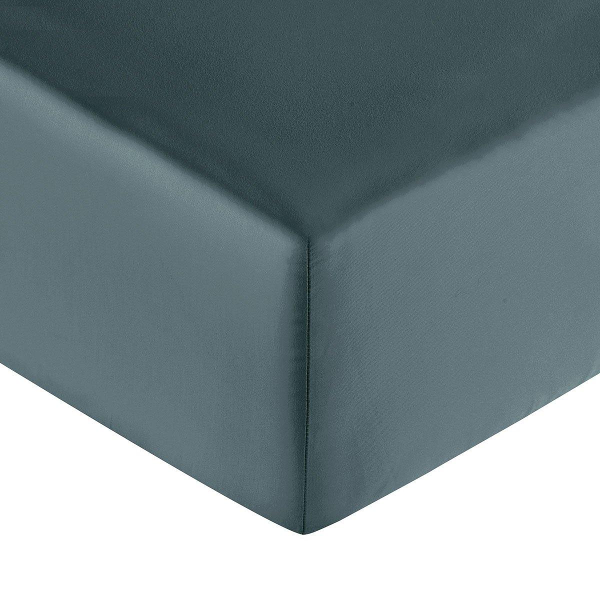 Drap housse coton 160x200 cm minéral