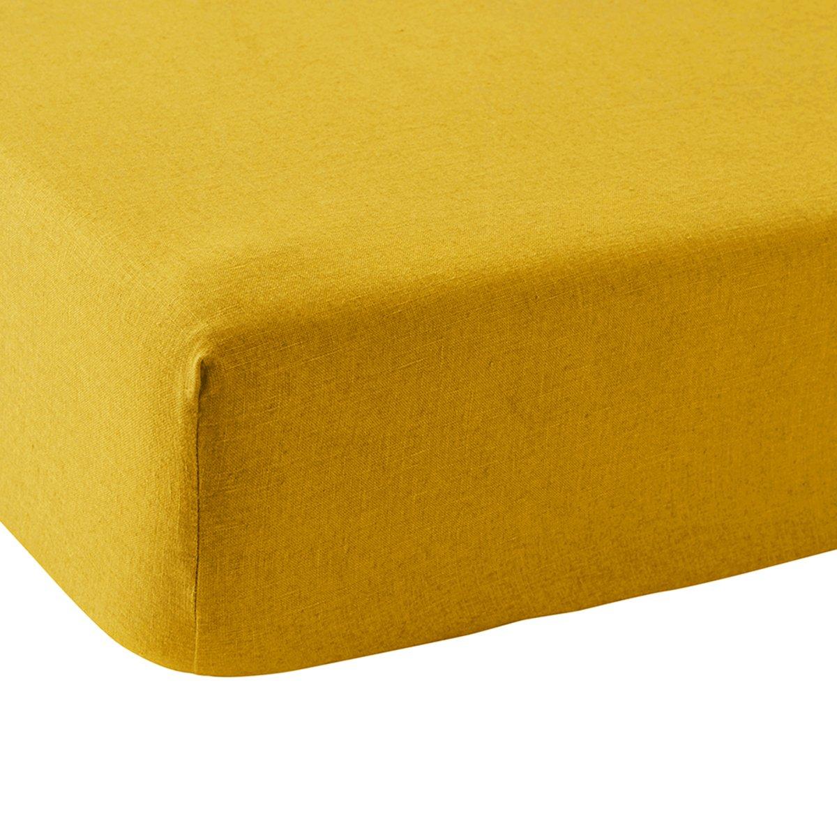 Drap housse lin 90x190 cm miel