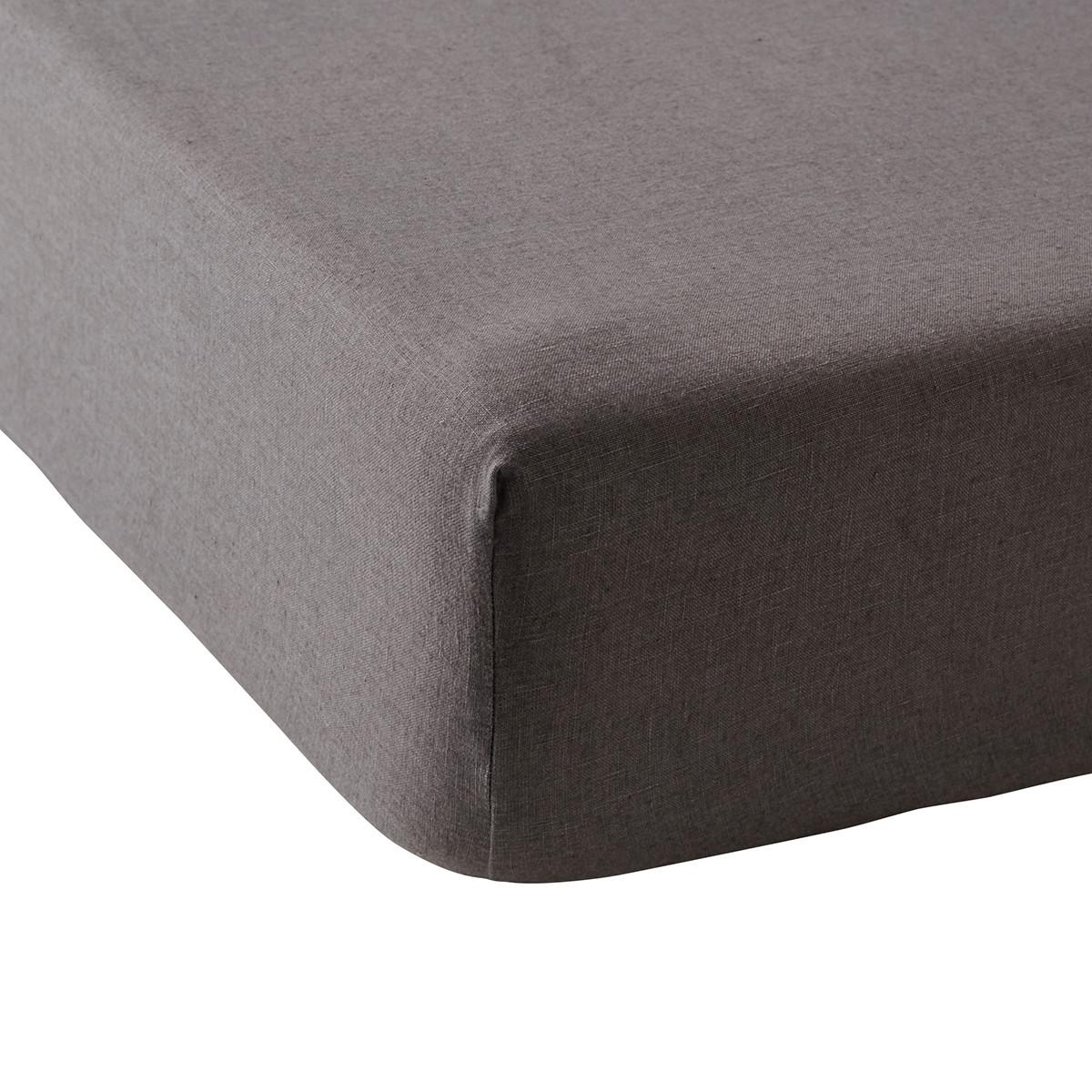 Drap housse lin 140x190 cm graphite