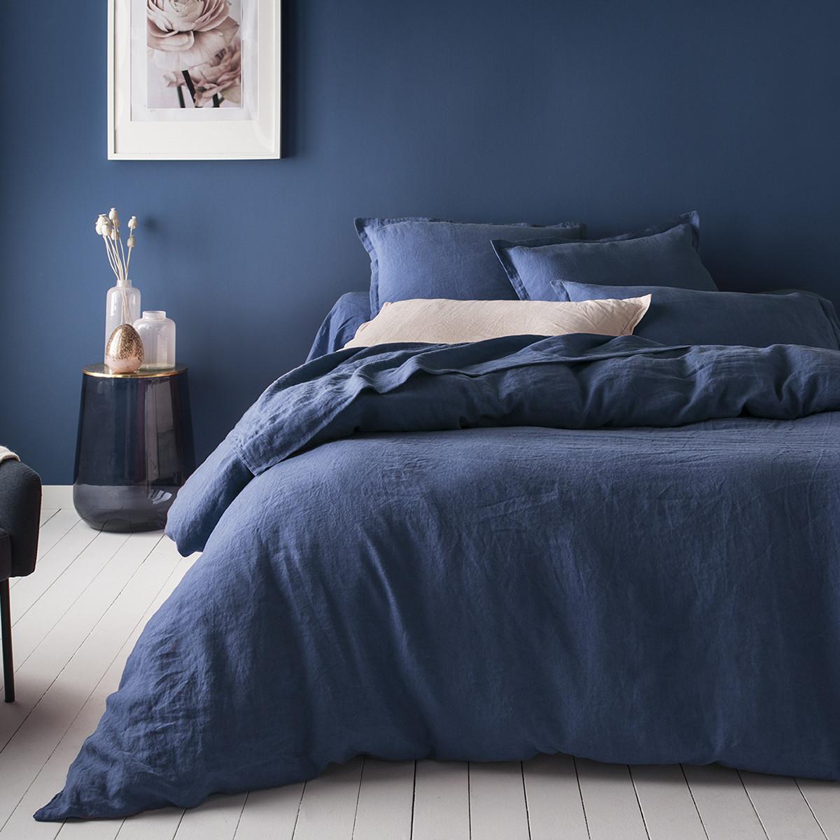 Housse de couette lin 240x220 cm bleu marine