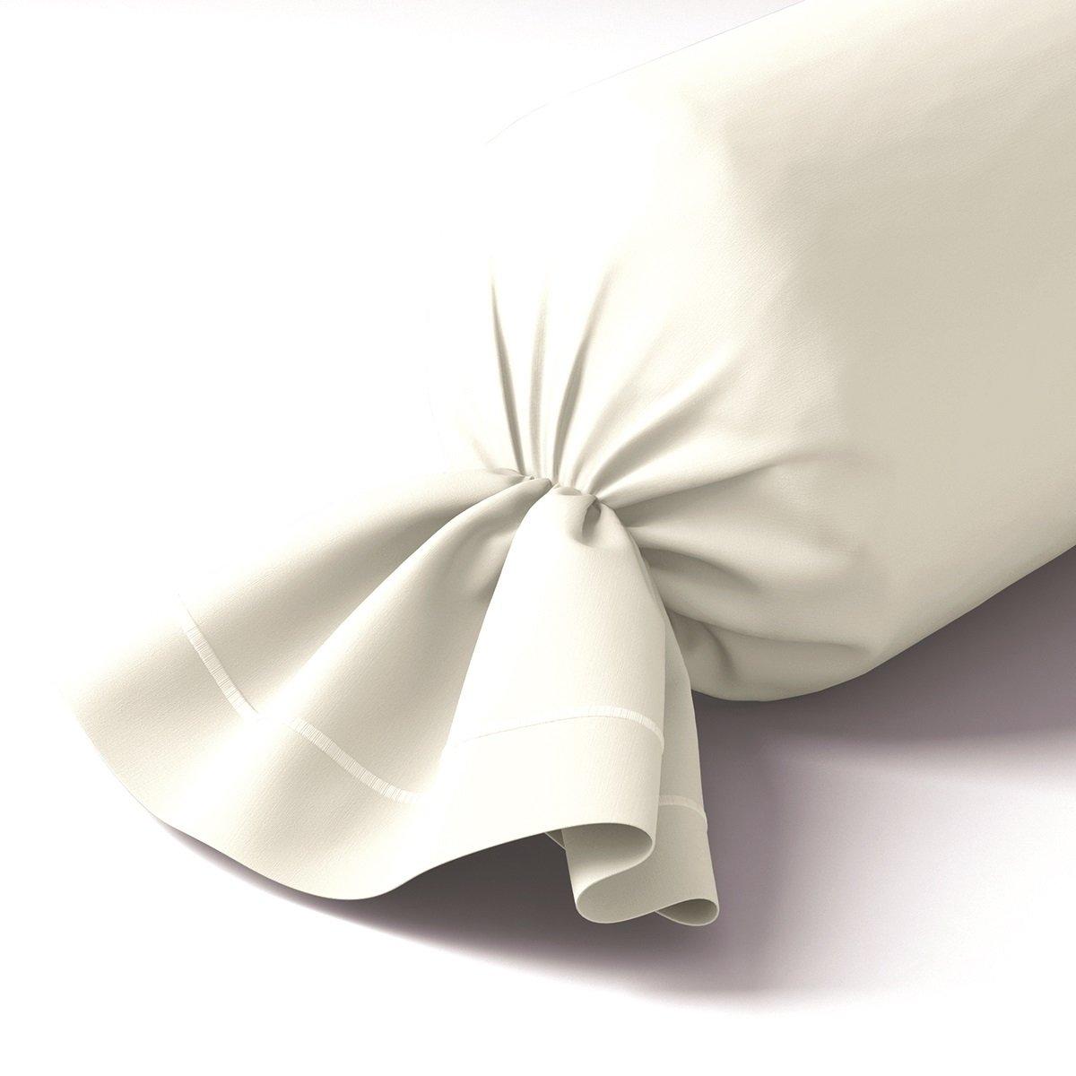 Taie de traversin coton 43x210 cm blanc doux