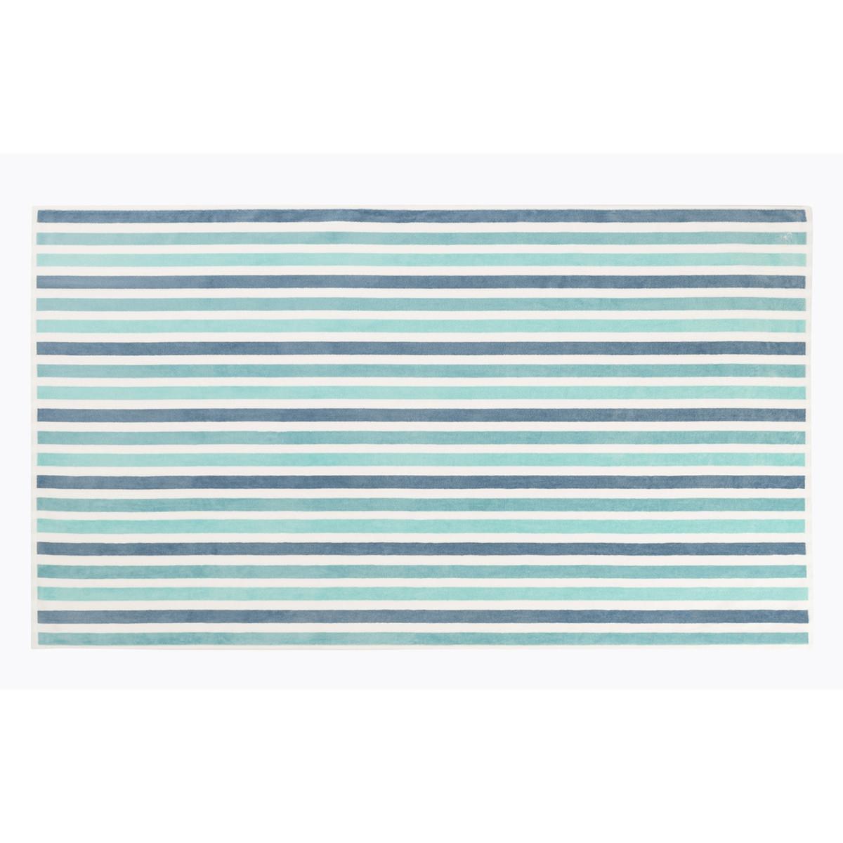 Drap de plage coton 100x170 cm vert clair rayé