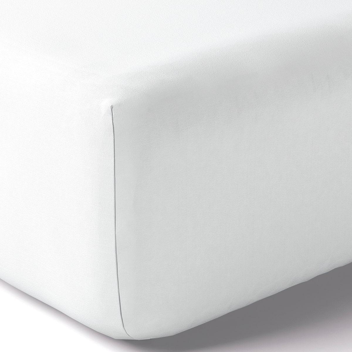 Drap housse coton 80x190 cm blanc