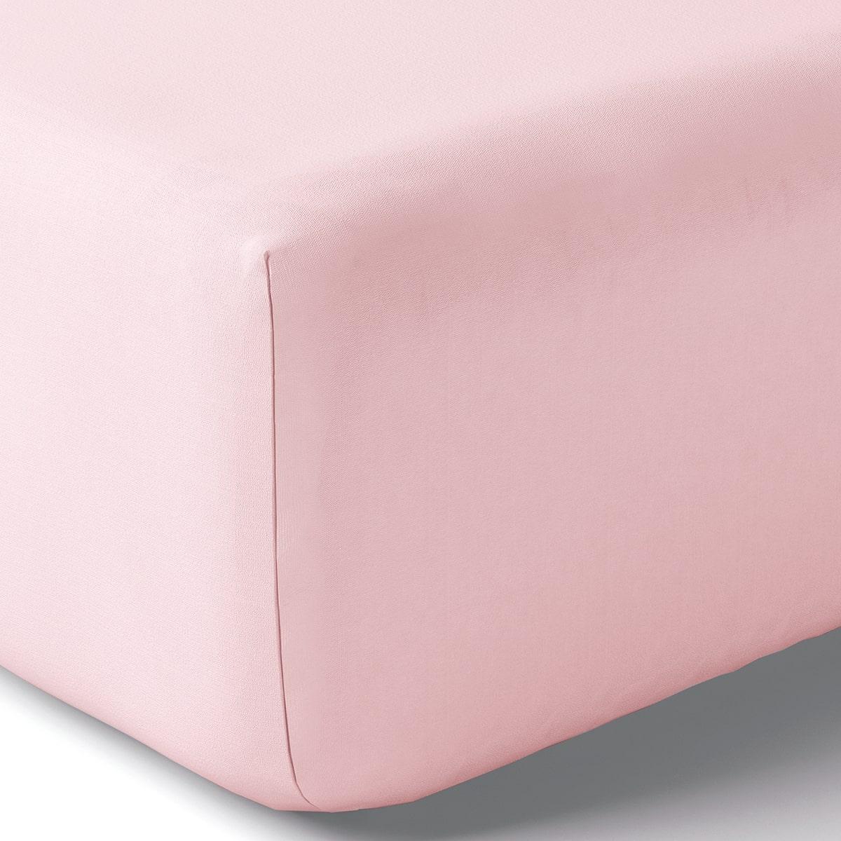 Drap housse coton 140x190 cm o de rose