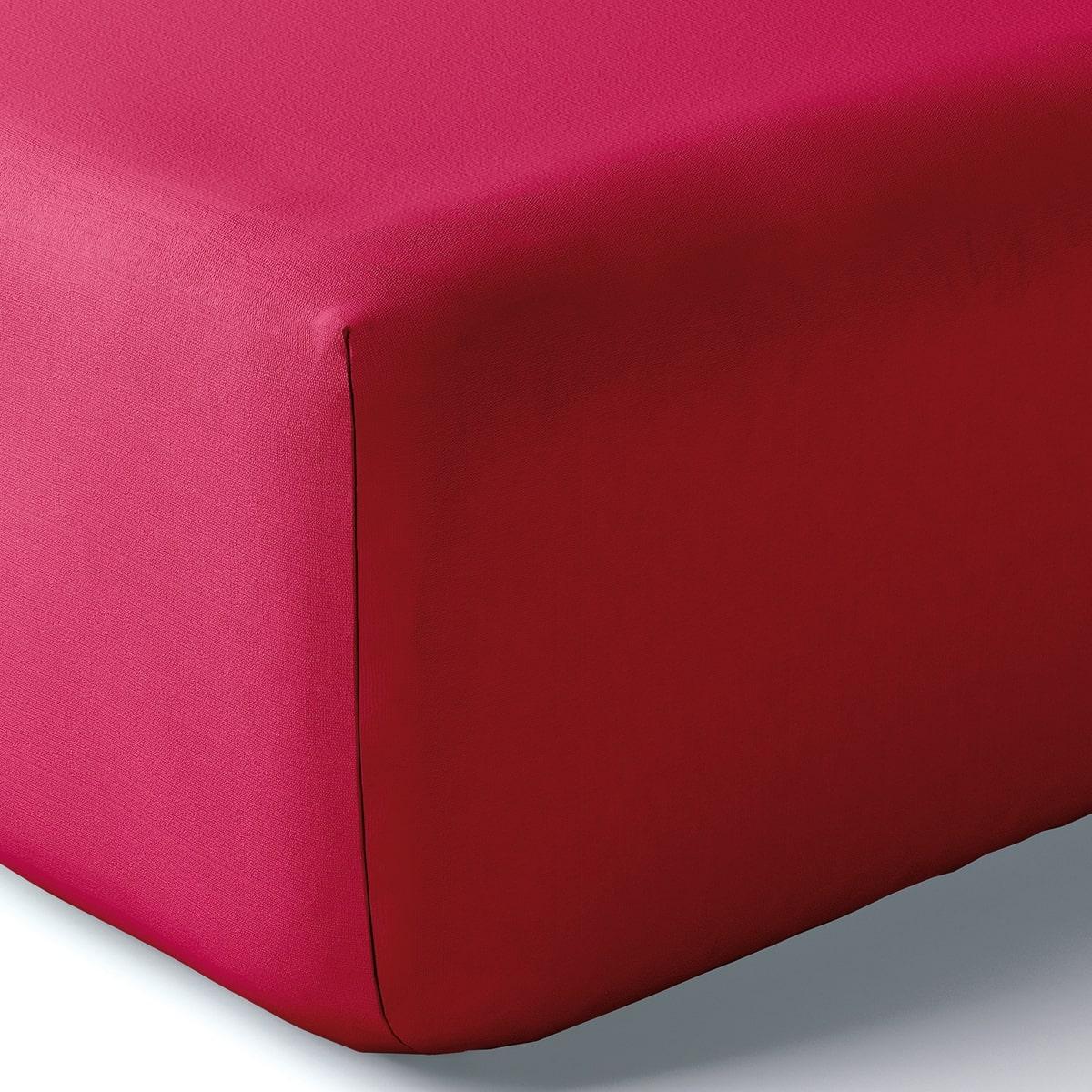 Drap housse coton 160x200 cm framboise