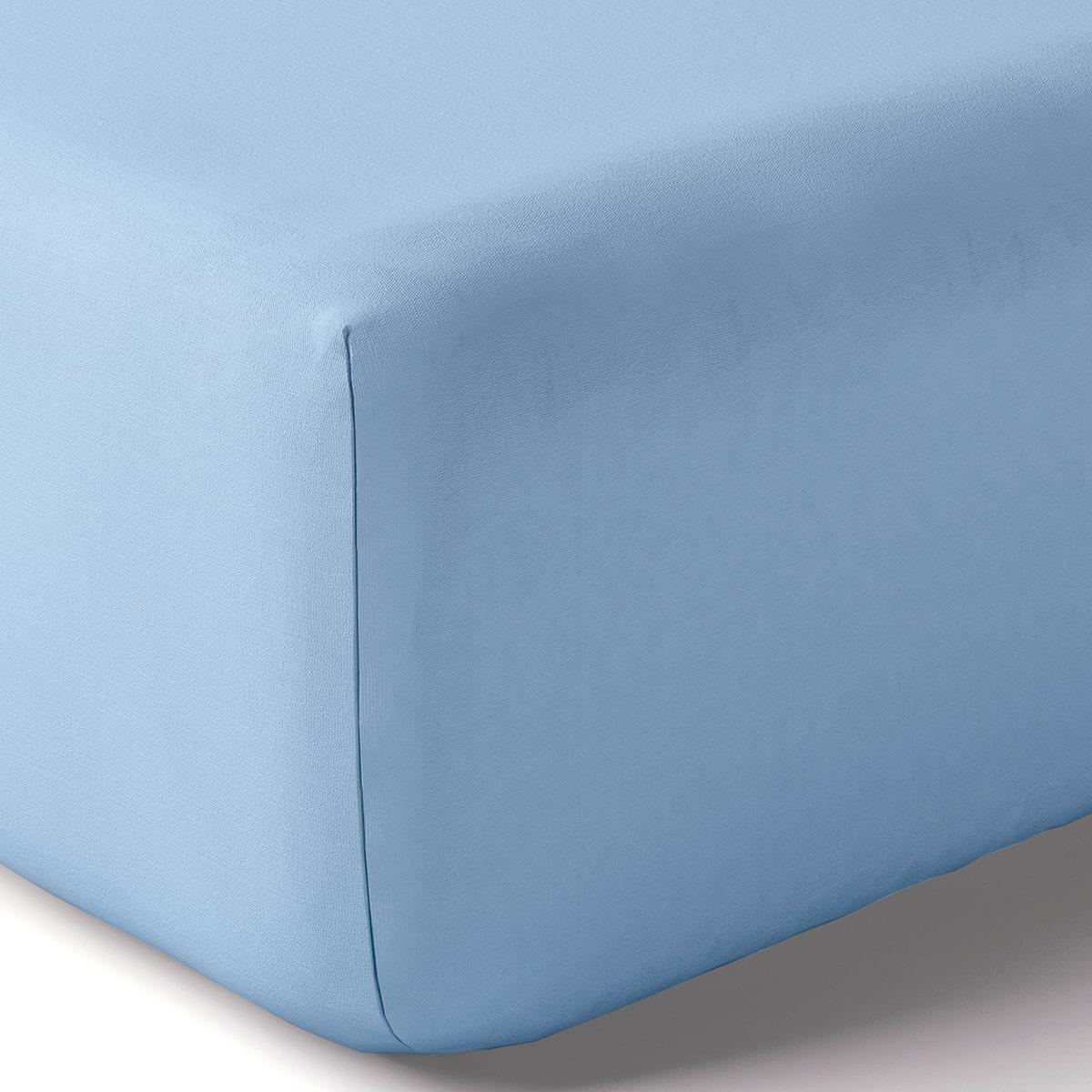 Drap housse coton 80x190 cm azur