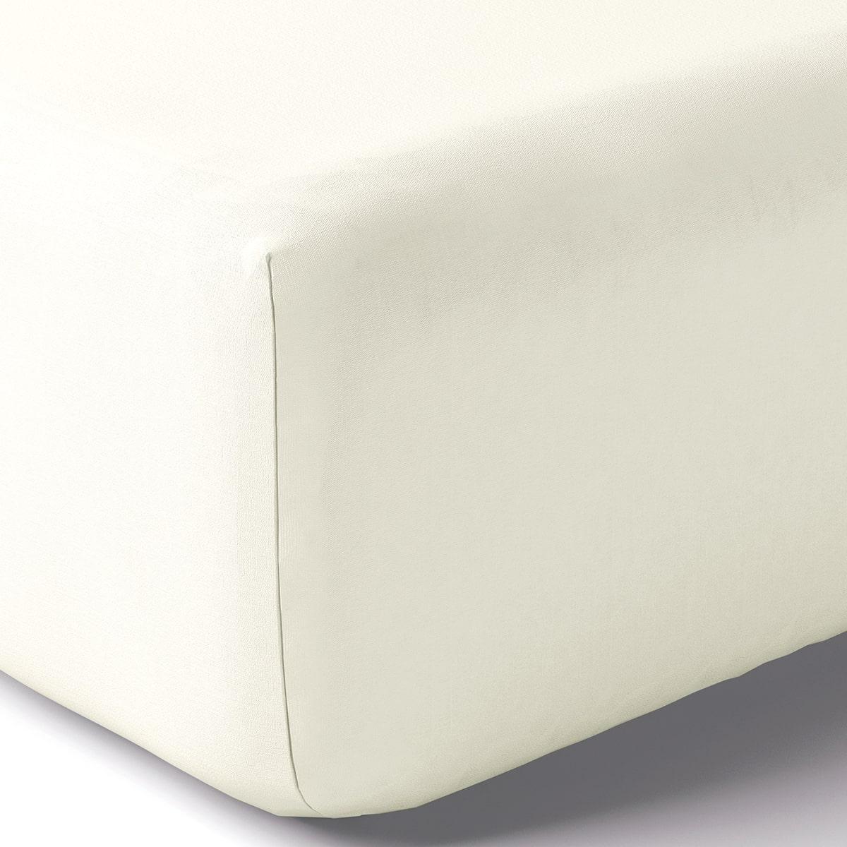 Drap housse coton 140x190 cm blanc doux