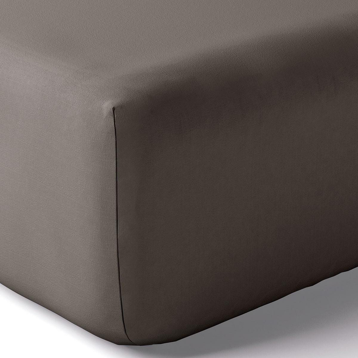 Drap housse coton 160x200 cm argile