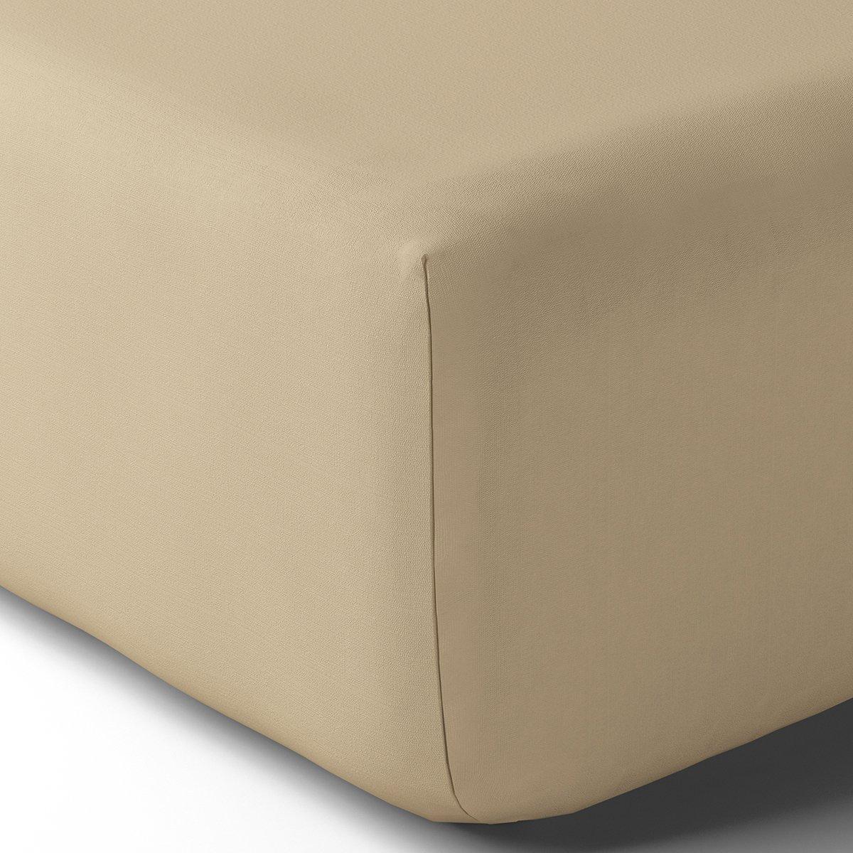 Drap housse coton 80x200 cm grège