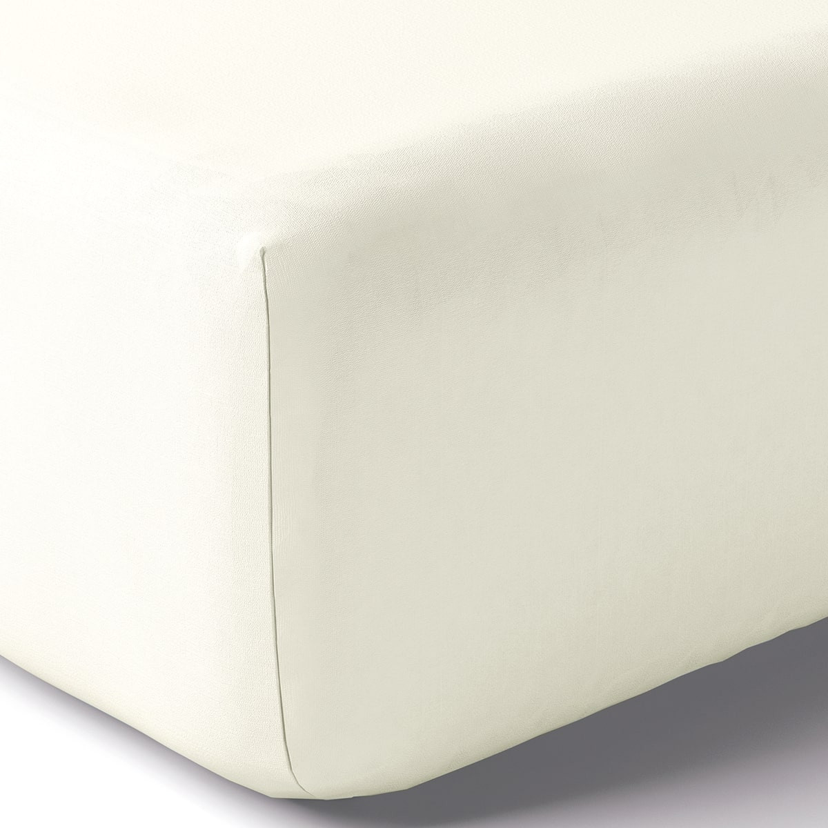 Drap housse coton 160x200 cm blanc doux