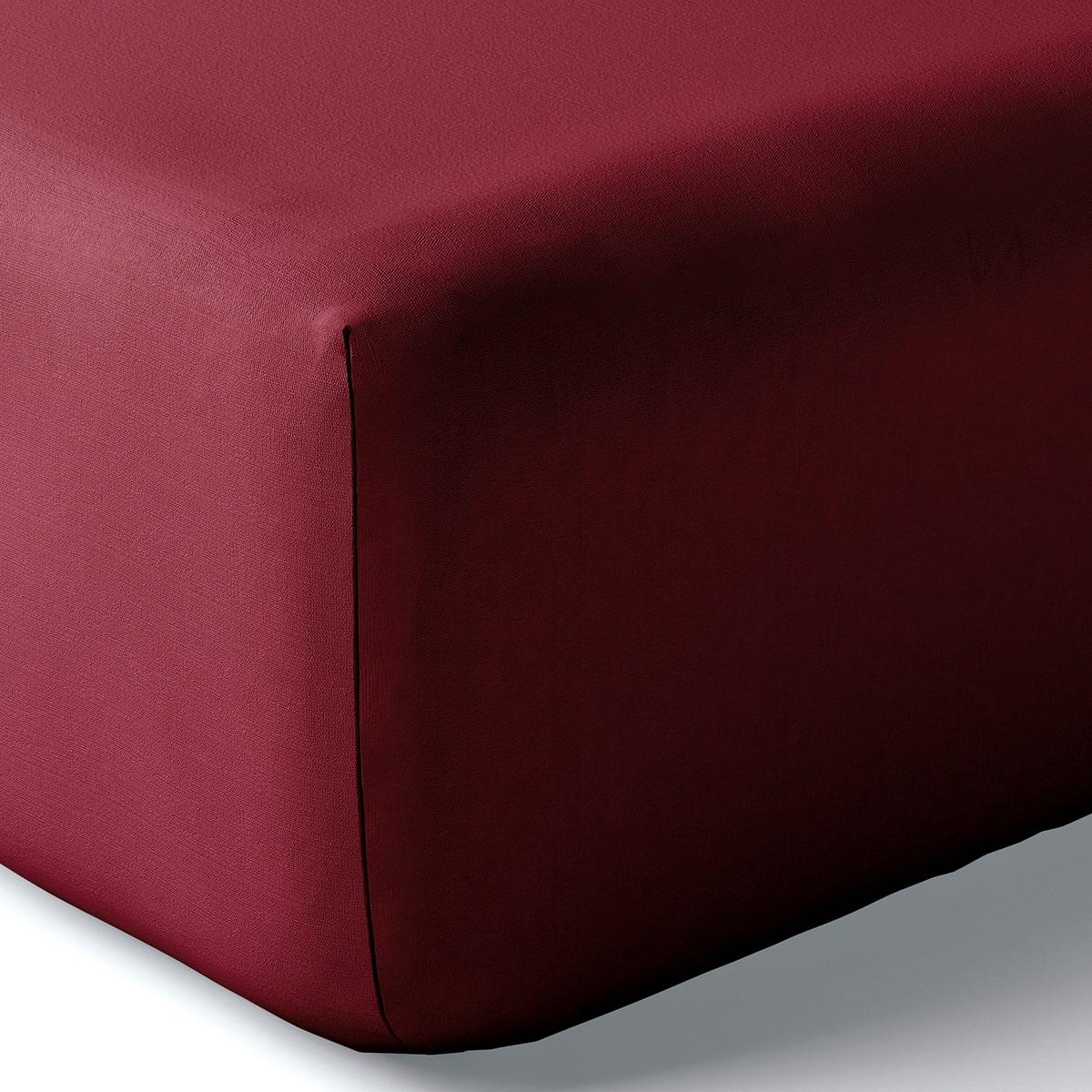 Drap housse coton 160x200 cm bourgogne