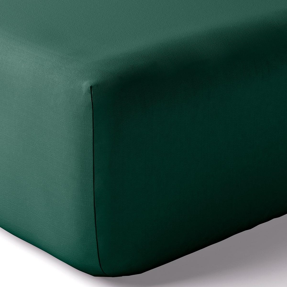 Drap housse coton 160x200 cm emeraude