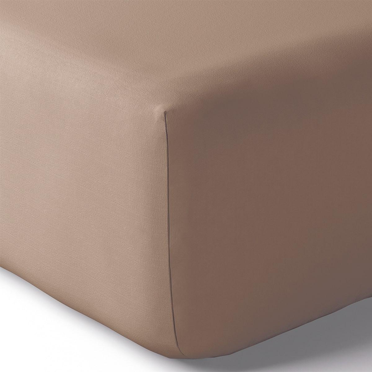 Drap housse coton 90x200 cm vison