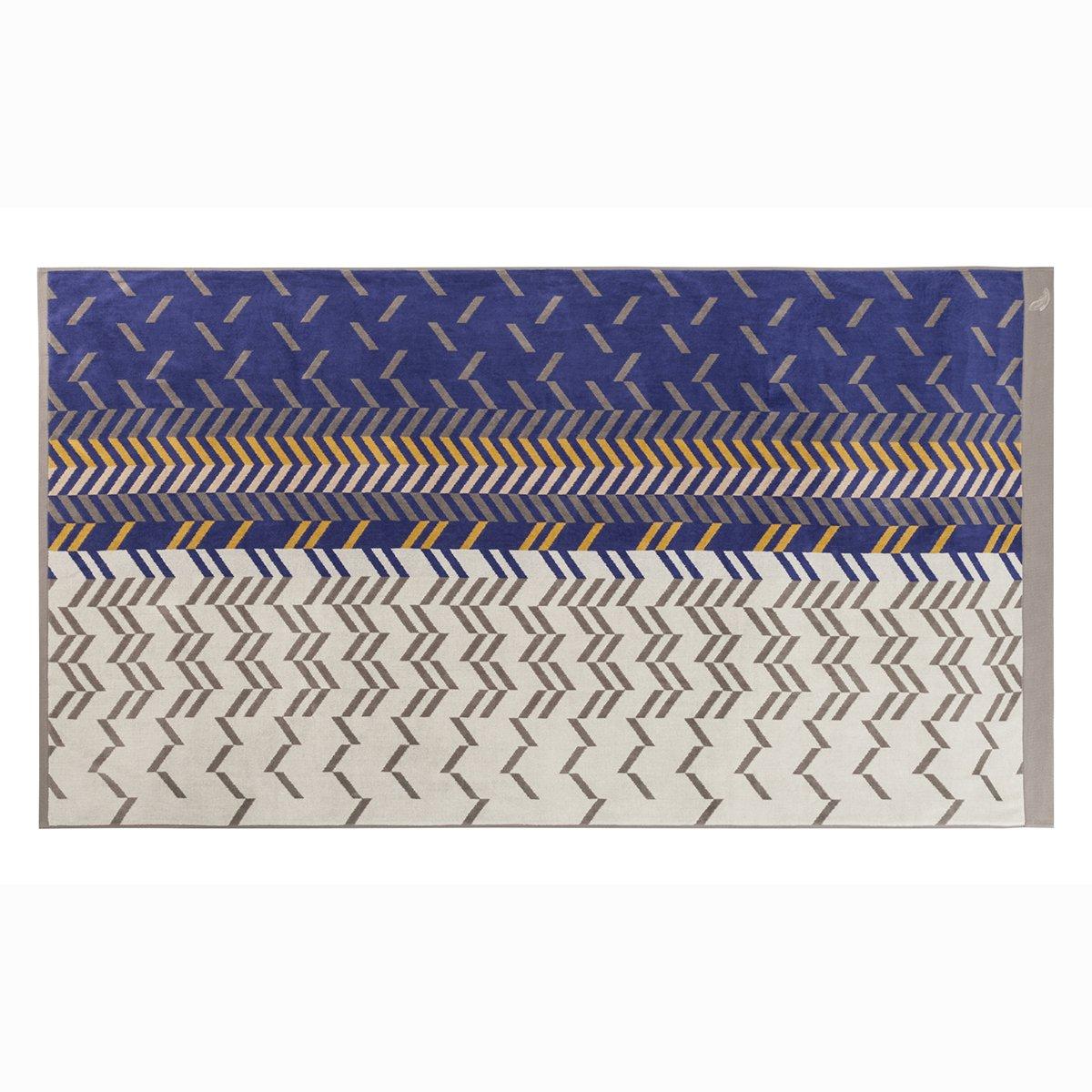 Drap de plage coton 100x180 cm bleu foncé rayé
