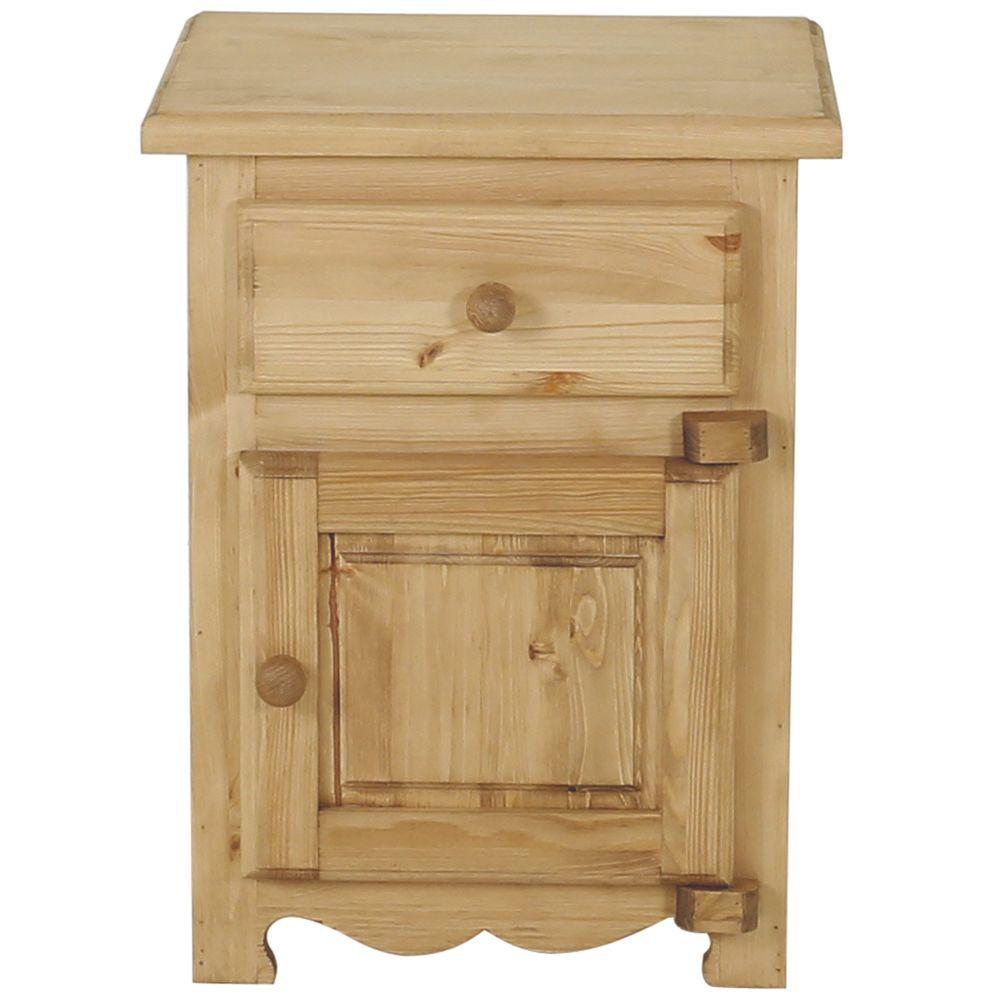 Chevet rustique en pin massif 1 porte + 1 tiroir avec charnières bois (photo)