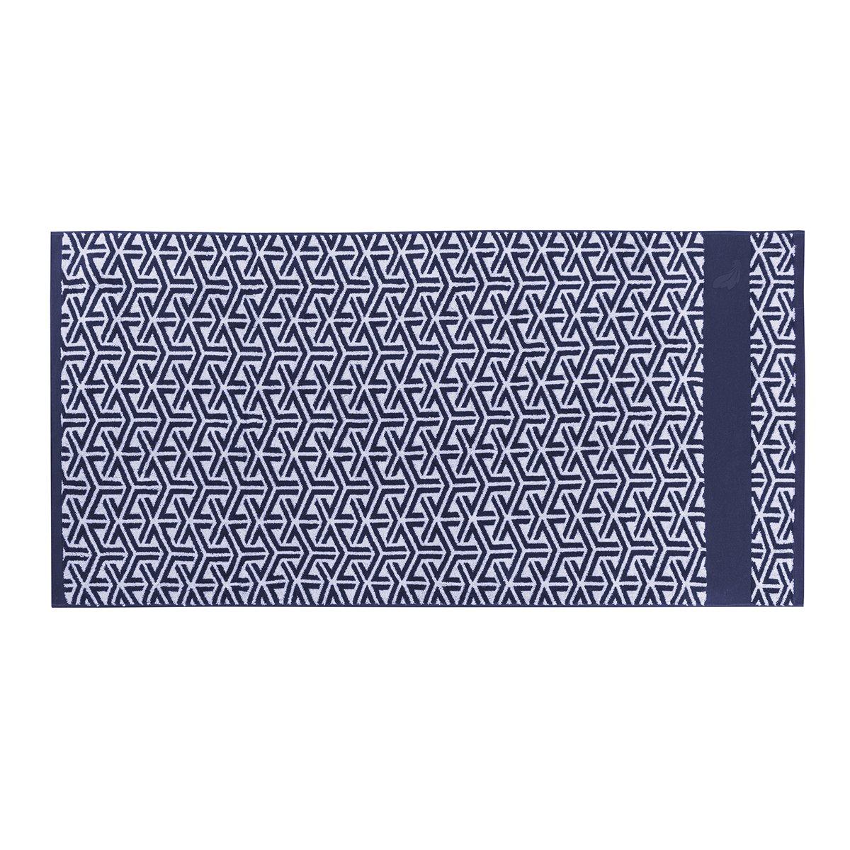 Drap de douche coton 70x140 cm bleu foncé imprimé