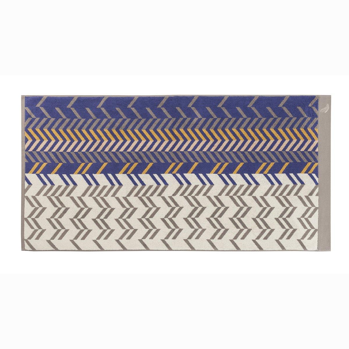 Drap de douche coton 70x140 cm bleu foncé rayé