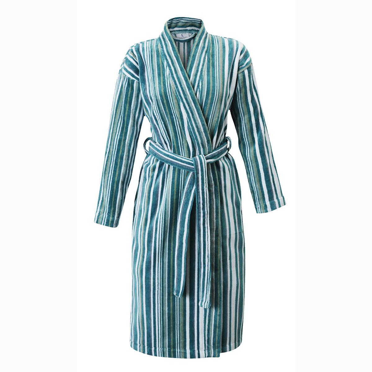 Peignoir coton s bleu clair rayé