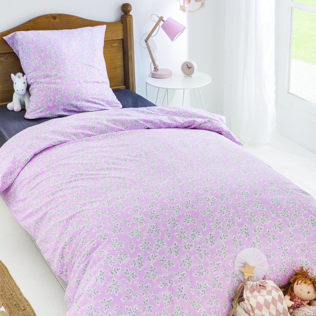 Parure de lit imprimée en coton rose 140x200
