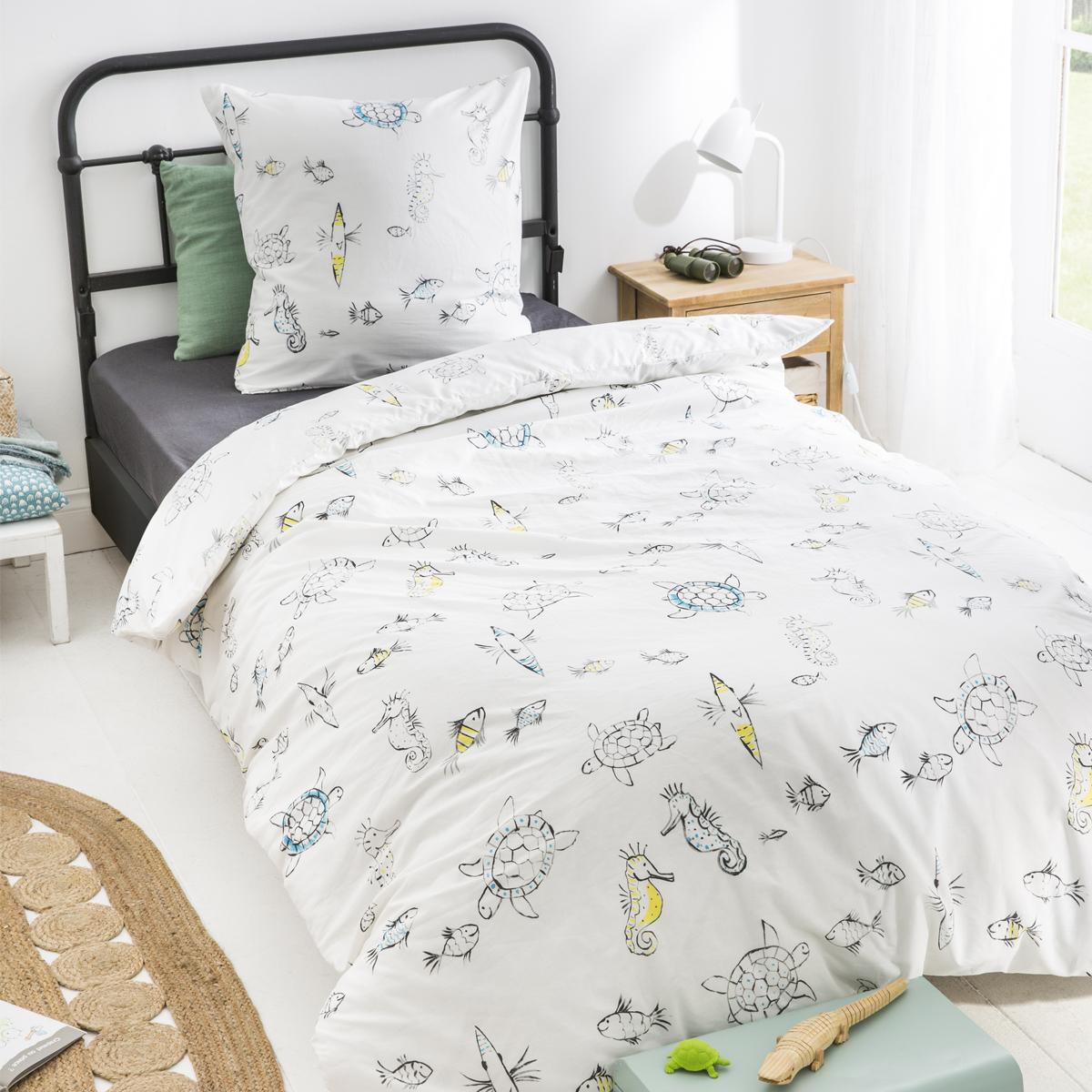 Parure de lit imprimée en coton blanc 140x200