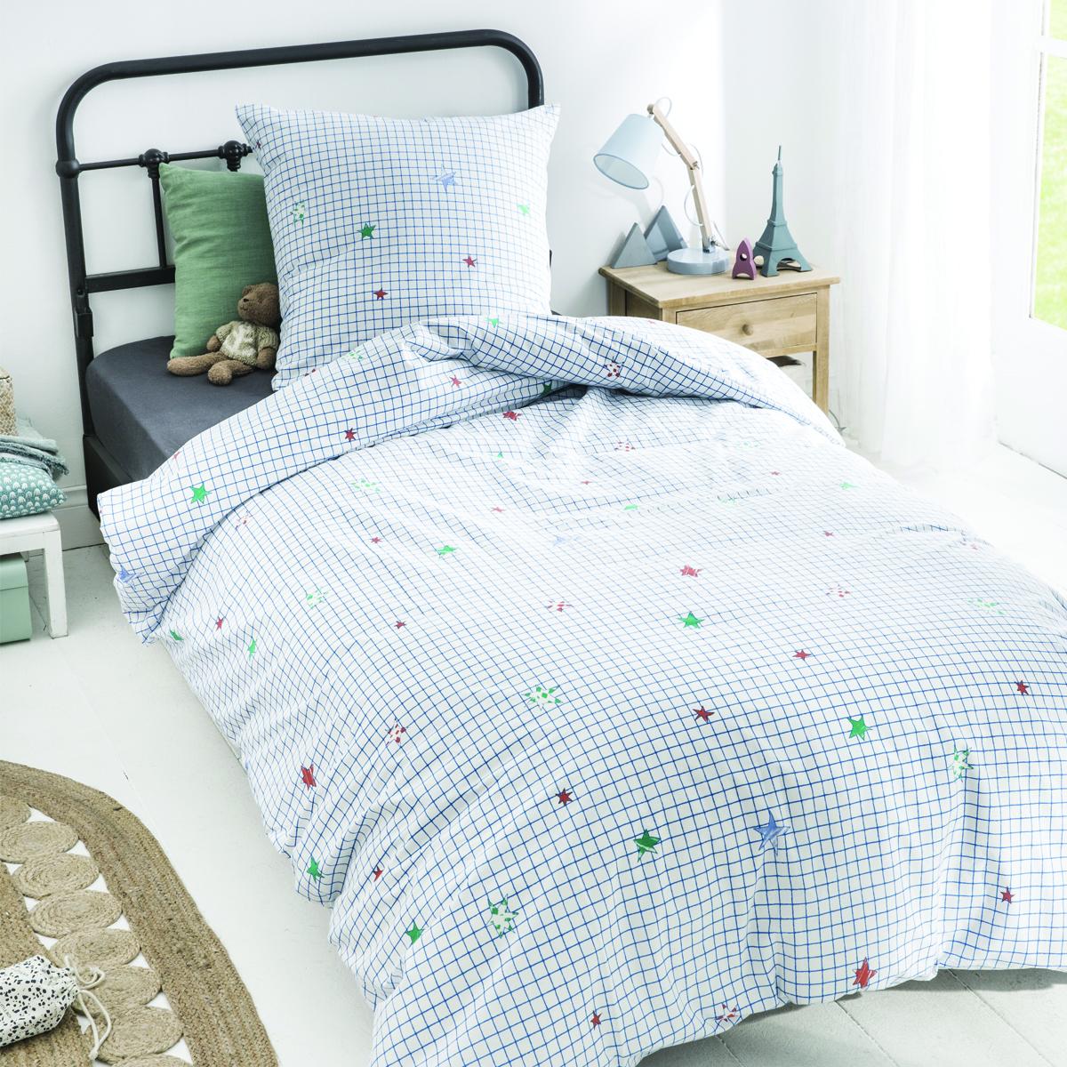 Parure de lit imprimée en coton bleu 140x200