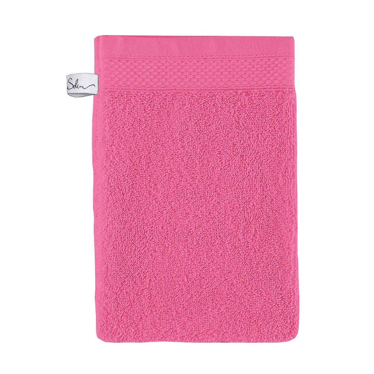 Gant de toilette coton 16x22 cm azalée