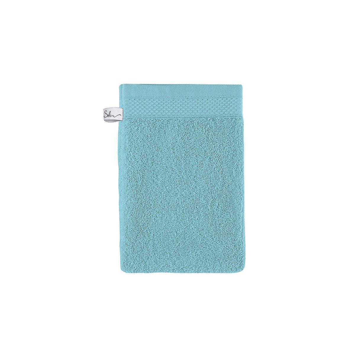 Gant de toilette coton 16x22 cm azur