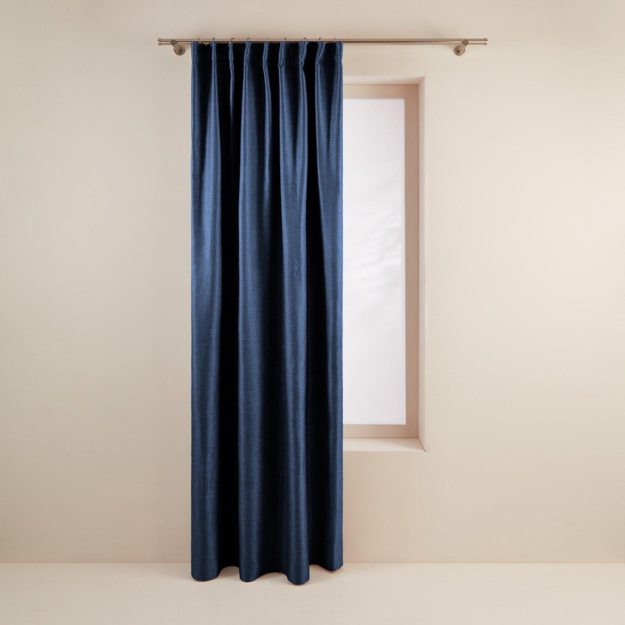 Rideau à ruban fronceur 350x280 cm Bleu nuit