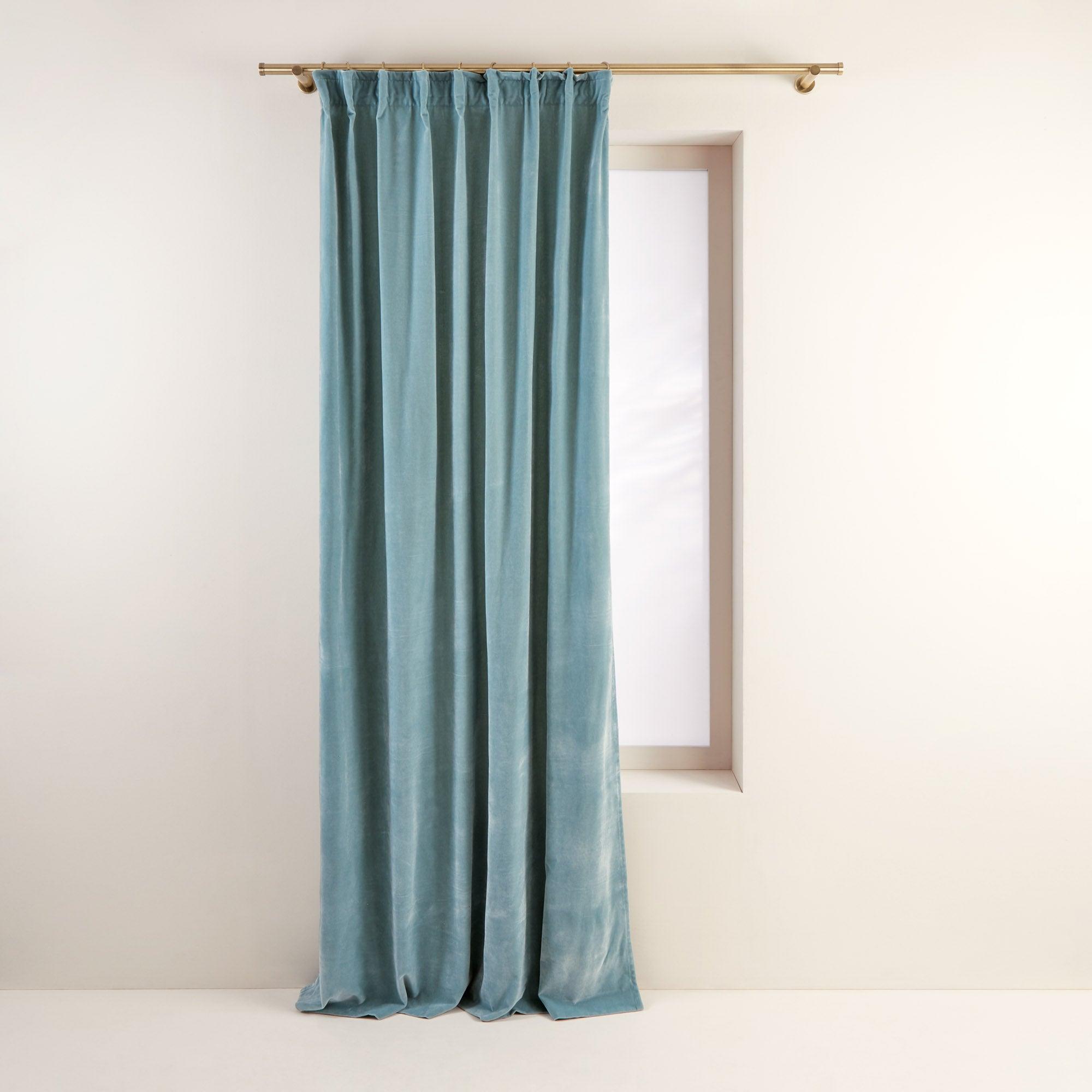 Rideau à ruban fronceur DARIO 134x350 cm Vert pale