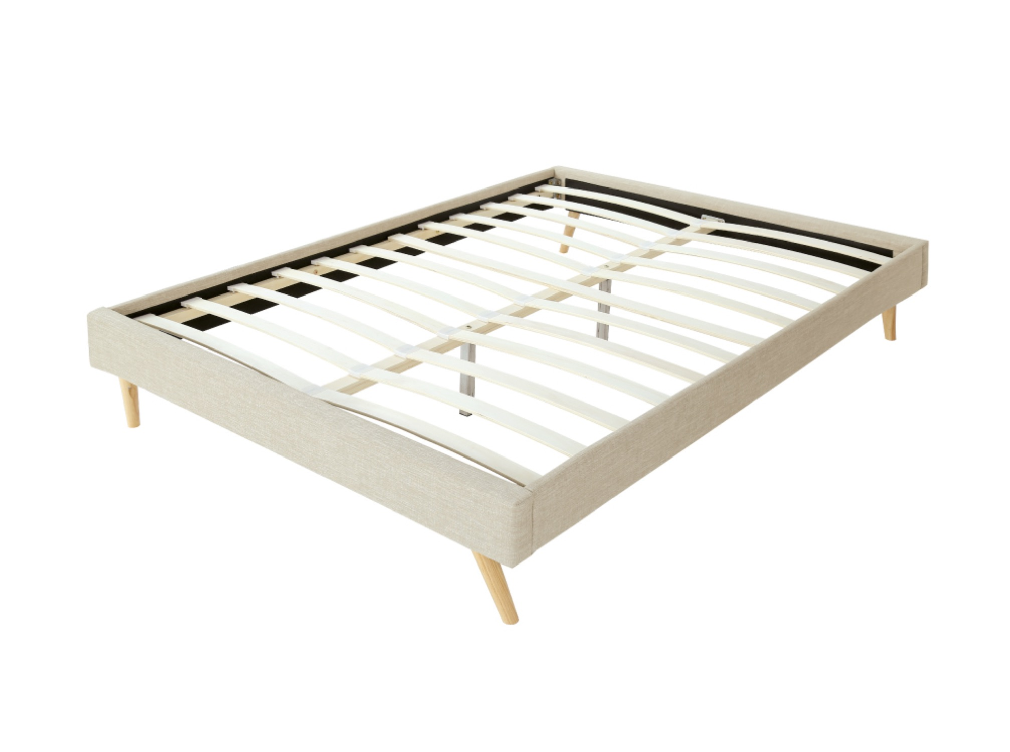 Cadre de lit en tissu beige 160x200